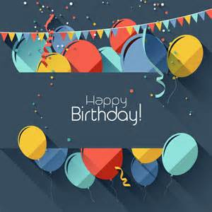 happy birthday ribbons balloons vector free vector