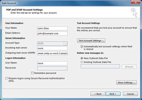 configure xp email send configuring email clients to send through amazon ses
