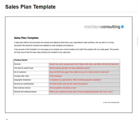 sales plan template free word form pdf documents