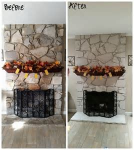 Hometalk   DIY Painted Stone Fireplace