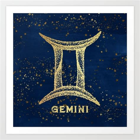 gemini zodiac sign art print by nature magick society6