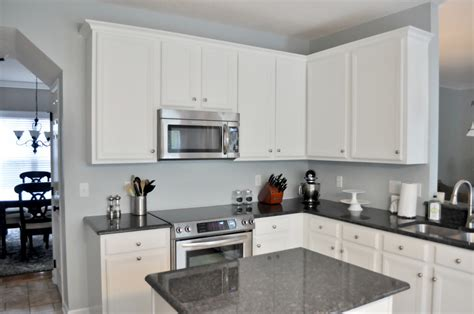 white cabinets with gray granite not so newlywed mcgees house tour