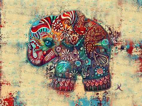 vintage elephant painting by karin taylor