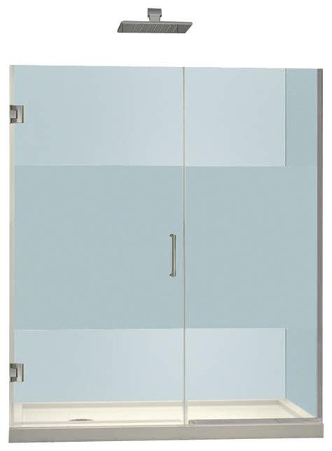 Half Glass Shower Door Unidoor Plus 43 1 2 To 44 Quot Shower Door Half Frosted Glass Chrome Finish Contemporary