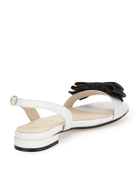 white bow sandals inger low heel bow sandal in white lyst