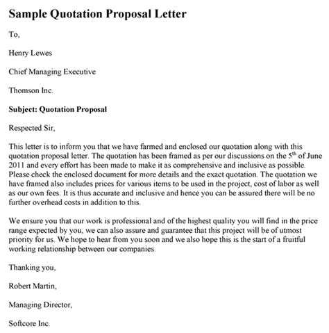 quotation submission letter proposal letter sample