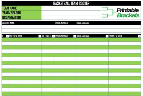 sports team roster template basketball roster template basketball team roster