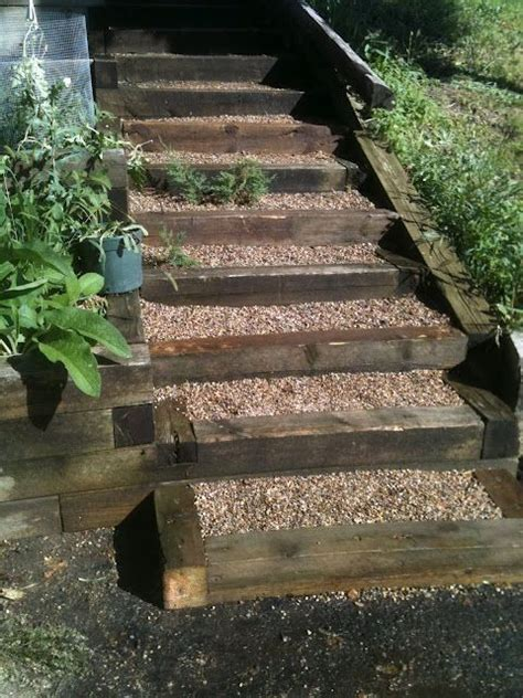 backyard steps pea gravel and timber steps garden ideas pinterest