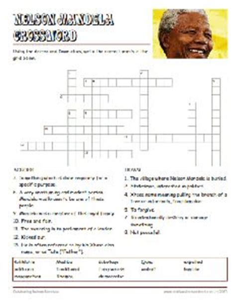 printable africa puzzle free nelson mandela worksheets crossword puzzle people