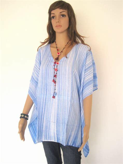 Tunik Blouse Batik Rahayu blue bali batik stripes top tunic kaftan caftan blouse dress