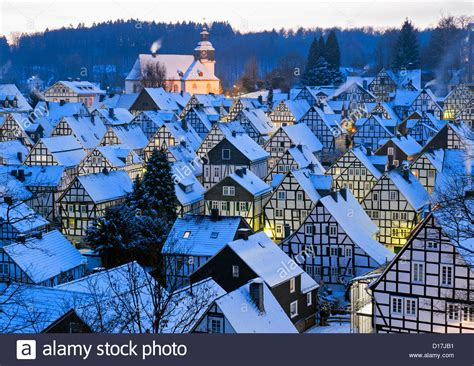 house to buy in germany winter view of snow covered old houses in freudenberg siegerland stock photo royalty