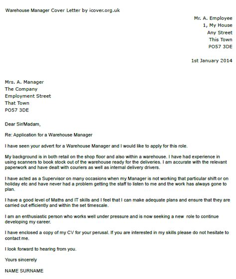 cover letter for warehouse manager position warehouse manager cover letter exle icover org uk