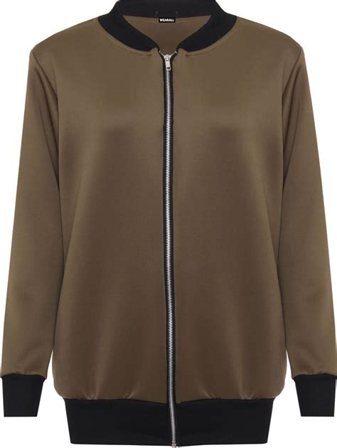 Plain Zip Detail Zip Jacket womens plus size plain bomber jacket sleeve
