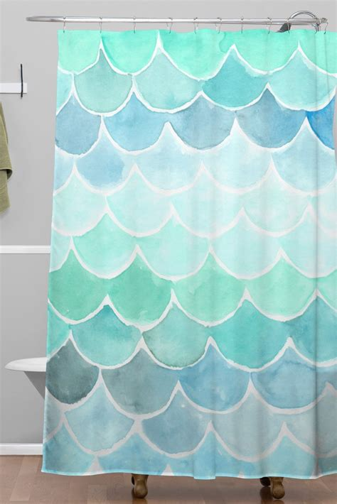 Mermaid Shower Curtain by Mermaid Scales Woven Shower Curtain Forest