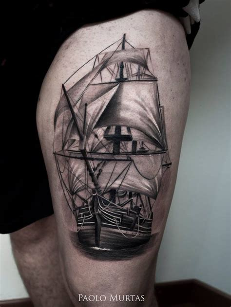 sailing tattoo designs sailing ship thigh best design ideas