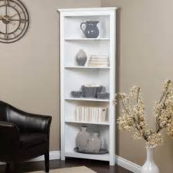 White Corner Bookshelves Redford White Corner Bookcase At Hayneedle