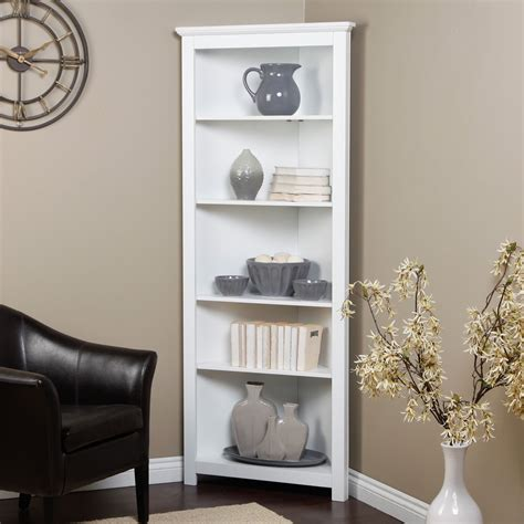 White Corner Bookcases Redford White Corner Bookcase At Hayneedle