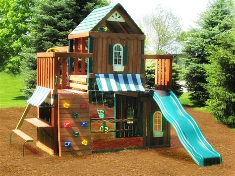 wooden backyard playsets juneau wood complete play set kit swing n slide wood