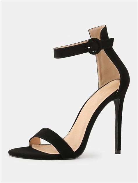 open high heels stiletto open toe high heels black shein sheinside