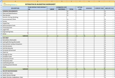 construction estimate excel template image gallery home building checklist template
