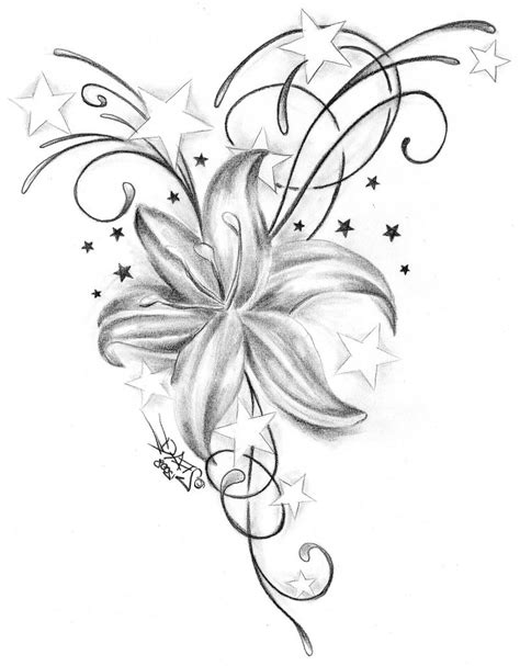 flower and stars tattoo designs 20 black and white iris designs