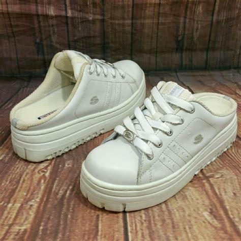 90s White skechers shoes 90s white slip on chunky platform poshmark