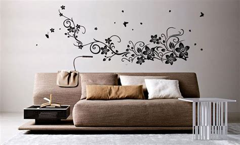 home wall sticker flower vine with fly butterfly wall sticker home