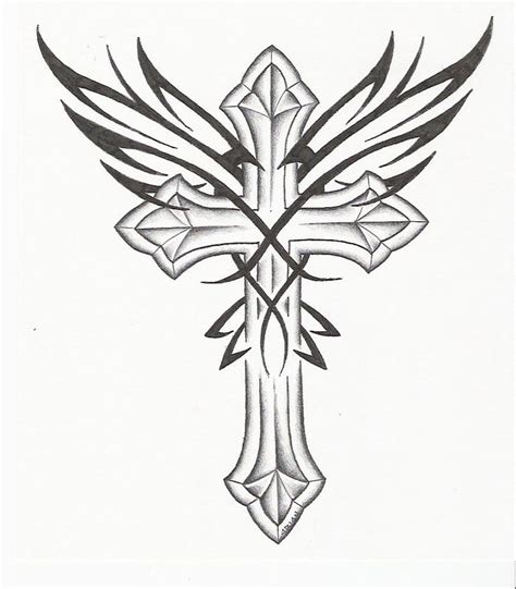 tattoo tribal vol 61 pin gothic cross tattoo drawing and wings picture to