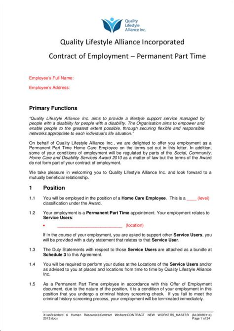 types of employment contracts types of employment
