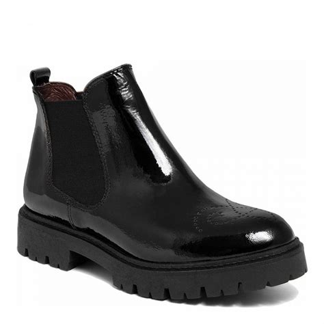 black patent leather chunky sole chelsea boot brandalley