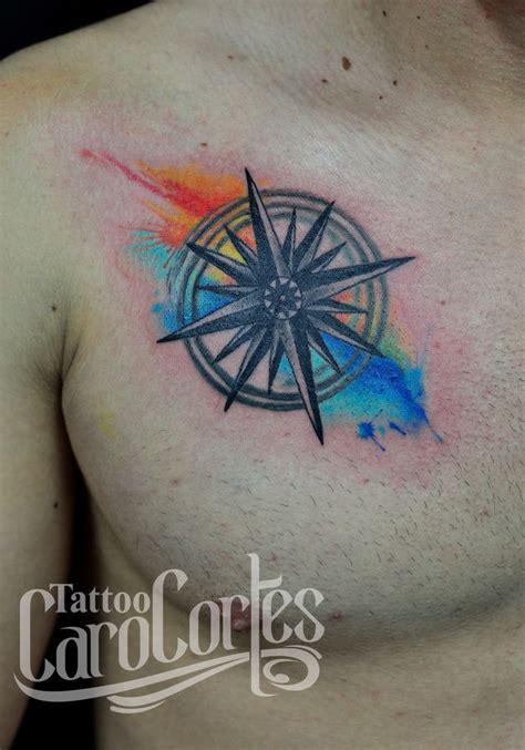 wind rose tattoo watercolor wind rosa de los vientos acuarelada caro