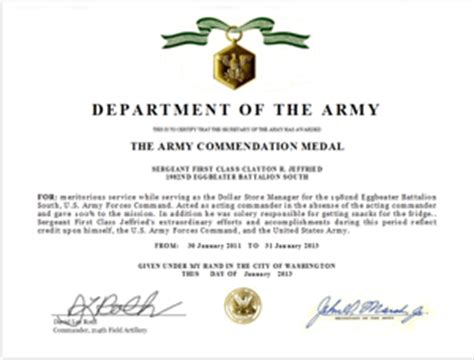 army conduct medal certificate template write an army commendation medal