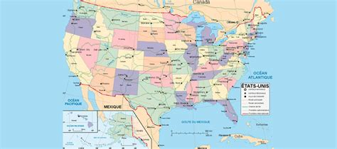 Faire Un Mba En Gratuit Aux Etats Unis by Carte Etats Unis Et Pays Voisins Pays Monde