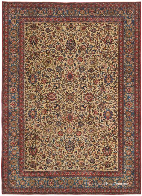 claremont rugs kashan collectible carpet with blue border