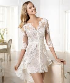 Casual modern high low short sleeve lace wedding dress with belt