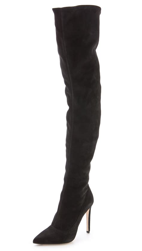 sergio suede the knee boots black in black lyst