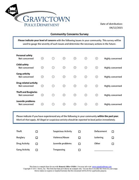 Community Concerns Survey 183 Remark Software Community Survey Template