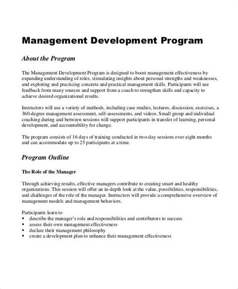 executive development plan template program management plan sle 8 exles in word pdf