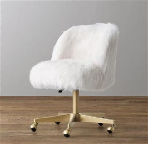 white fluffy desk chair alessa white kashmir faux fur desk chair antiqued brass