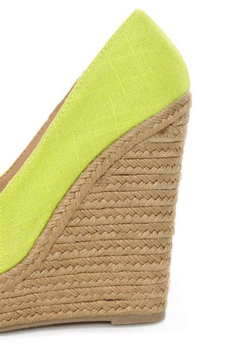 Wedges Jepit Permata Glows 3 my delicious glow yellow neon linen espadrille wedges 29 00