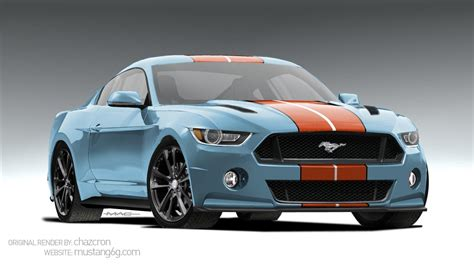 gulf racing mustang 2015 ford mustang rendered in awesome gulf livery