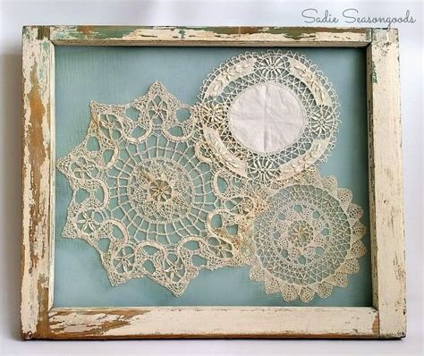 salvaged window frame doily display hometalk
