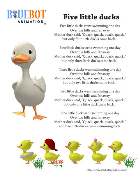 nursery rhymes five ducks 5 ducks nursery rhyme lyrics