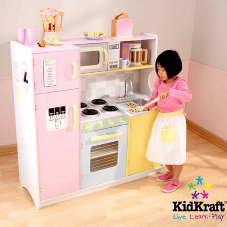 kidkraft large pastel wooden play kitchen with 3