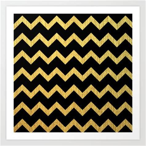 chevron pattern in gold black and gold chevron pattern art print print