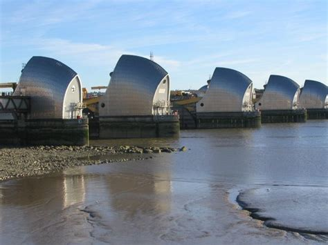 thames barrier reef view of the thames barrier at low tide from the end of the
