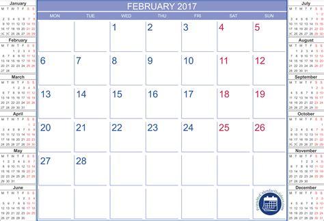 Calendar October 2017 Printable A4 Printable Calendar February 2017 Printable 2017 Calendar