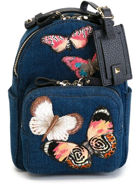Kammaya Mini Backpack Blue Buteterfly valentino small embroidered butterfly backpack in blue lyst
