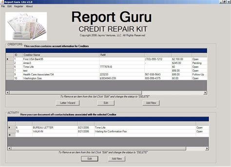 free kredit repair kit reportguru lite credit repair tool kit v1 0 for