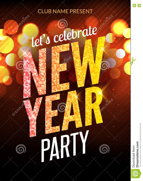 party title for christmas new year happy new year festive flyer design template background poster celebration vector